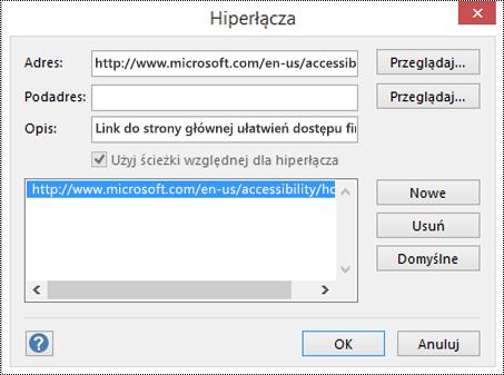Okno dialogowe Hiperlinki umożliwiające dodanie opisu linku w programie Visio.