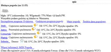 Widok danych z serwisu MSN Weather
