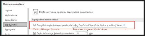 Okno dialogowe Plik > Opcje > Zapisywanie z wyświetlonym polem wyboru do włączania lub wyłączania autozapisu