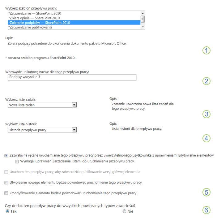 Pierwsza strona formularza skojarzenia z wyświetlonymi opcjami