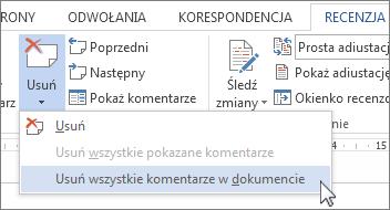 Polecenie Usuń wszystkie komentarze w dokumencie w menu usuwania komentarzy