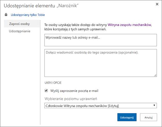 Udostępnianie witryny typu wiki innym członkom