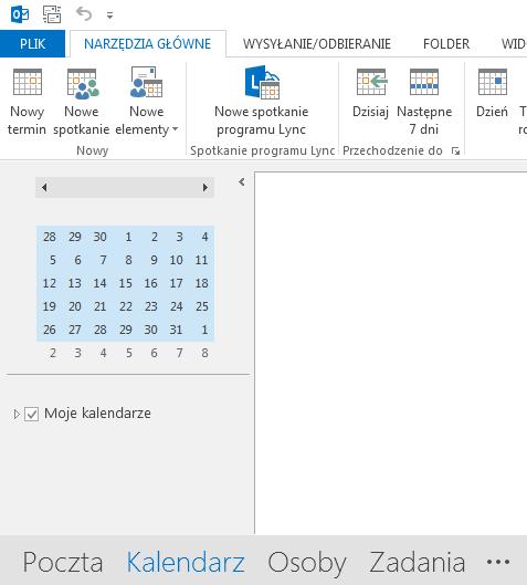 Link Kalendarz znajduje się u dołu ekranu.