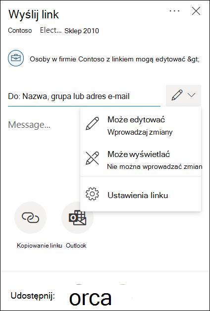 Opcje uprawnień udostępniania wusłudze OneDrive zopcjami tylko do edycji lub wyświetlania.