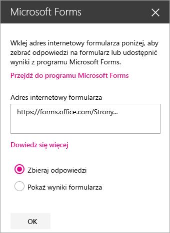 Panel składnika Web Part programu Microsoft Forms dla istniejącego formularza.