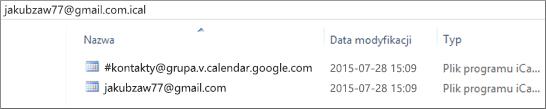 Obraz przedstawiający wygląd rozpakowanego wyeksportowanego kalendarza.