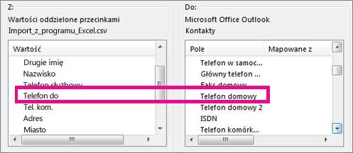 Mapowanie pól z pliku importu na pola w programie Outlook