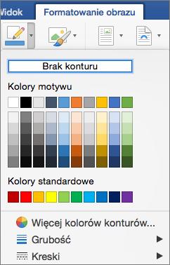 Wyświetlane są kolory konturu dla obramowania obrazu.