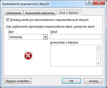 Wpisywanie wiadomości, która ma być wyświetlana, gdy lista rozwijana nie działa poprawnie w programie Excel