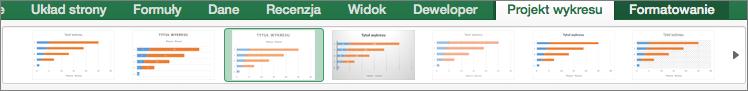 Wybieranie formatu wykresu na karcie Projekt wykresu