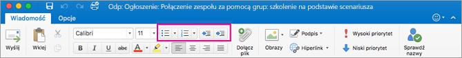 Przyciski listy na wstążce programu Outlook dla komputerów Mac