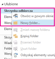 Nowy podfolder można utworzyć, korzystając z menu wyświetlanego po kliknięciu prawym przyciskiem myszy.