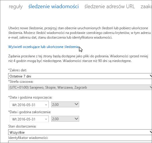 """Zrzut ekranu narzędzia do śledzenia wiadomości przedstawiający kursor umieszczony na linku """"Wyświetl oczekujące lub ukończone śledzenia"""""""
