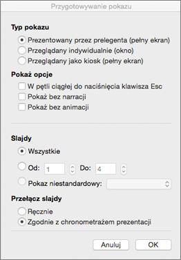Ustaw typ pokazu i inne opcje przed udostępnieniem pokazu