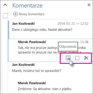 Obraz polecenia Odpowiedz pod komentarzem w okienku Komentarze w aplikacji Word Web App.