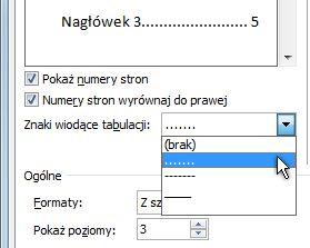 Opcja kropkowanego znaku wiodącego w oknie dialogowym spisu treści