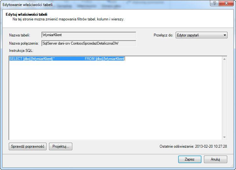 Kwerenda SQL w domyślnej, krótszej składni