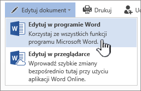 Dokument programu Word otwarty z biblioteki programu SharePoint z wyróżnioną pozycją Edytuj w programie Word