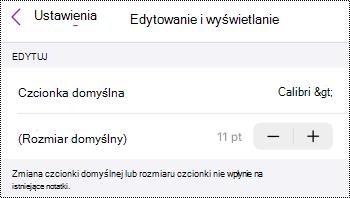 Menu Edytuj i wyświetl w programie OneNote dla systemu iOS.
