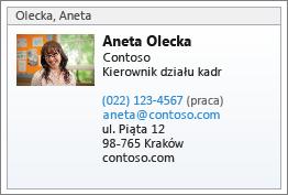 Wizytówka vCard kontaktu