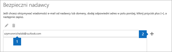Zrzut ekranu przedstawiający stronę listy bezpiecznych nadawców.