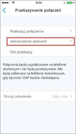 Ekran jednoczesnego dzwonienia aplikacji Skype dla firm dla systemu iOS