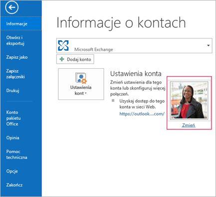 Łącze Zmień zdjęcie w programie Outlook