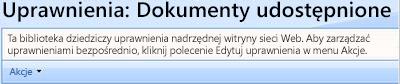 Strona uprawnień dla biblioteki Dokumenty udostępnione.
