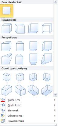 Opcje efektów 3-W obiektu WordArt w programie Publisher 2010