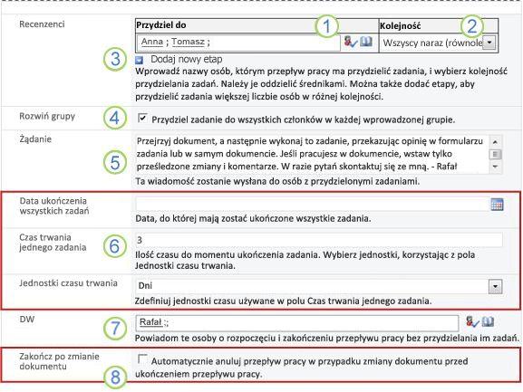Druga strona formularza skojarzenia z ponumerowanymi objaśnieniami