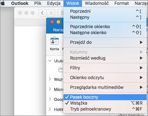 Wybierz Widok > Pasek boczny, aby wyświetlić swoją listę folderów