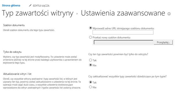 Wprowadź adres URL szablonu typu zawartości witryny: strony ustawień zaawansowanych