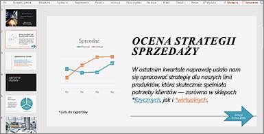 Prezentacja ze slajdem zawierającym wykres i tekst z dwoma hiperlinkami