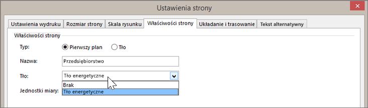 Zrzut ekranu przedstawiający okno Ustawienia strony > Właściwości strony z wybraną z listy rozwijanej Tło pozycją Tło energetyczne