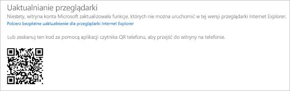 Komunikat Uaktualnianie przeglądarki