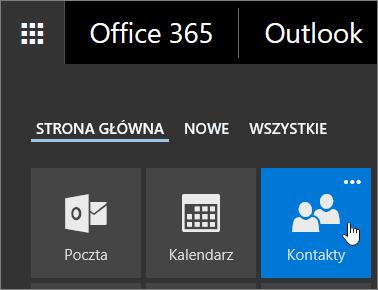 Zrzut ekranu przedstawiający kursor umieszczony na kafelku Kontakty w obszarze Uruchamianie aplikacji usługi Office 365.