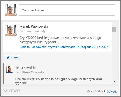 Zrzut ekranu usługi Yammer Embed