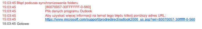 Problemy z synchronizacją, błąd folderu 80070057-30FFFFFF-0-560