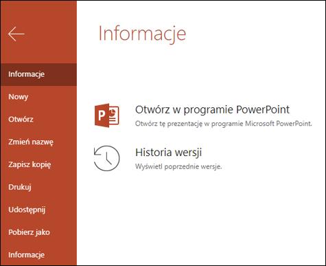 Na karcie informacje w usłudze Office Online jest wyświetlana pozycja historia wersji.