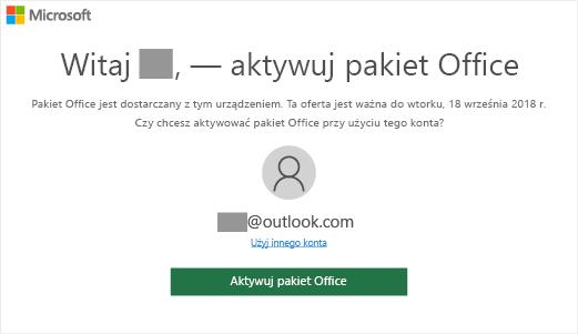 """Pokazuje ekran """"Aktywuj pakiet Office"""", który wskazuje, że pakiet Office znajduje się na tym urządzeniu"""