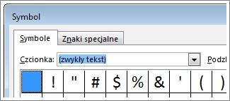 Okno Symbol w programie Word