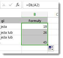 Wprowadzanie wielu funkcji DŁ w arkuszu