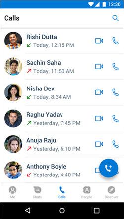 Zrzut ekranu przedstawiający Rozpoczynanie połączenia na karcie połączenia w programie aplikacji kaizala