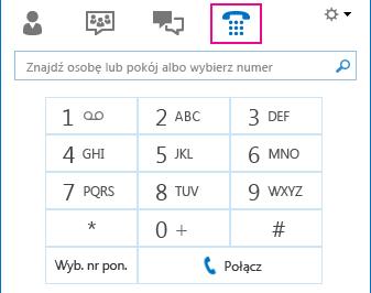 Zrzut ekranu ikony Telefon przedstawiającej konsolę wybierania numerów, z której można korzystać do nawiązywania połączeń