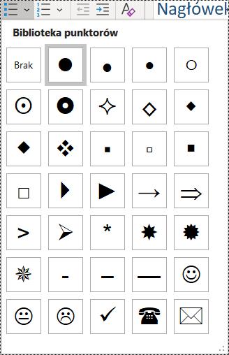 Zrzut ekranu przedstawiający wybieranie elementu listy punktowanej w menu Narzędzia główne.