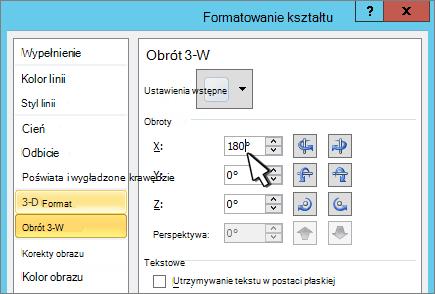 Okno dialogowe Formatowanie kształtu z zaznaczonym obracaniem 3D X
