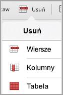 menu Usuń tabelę iPad
