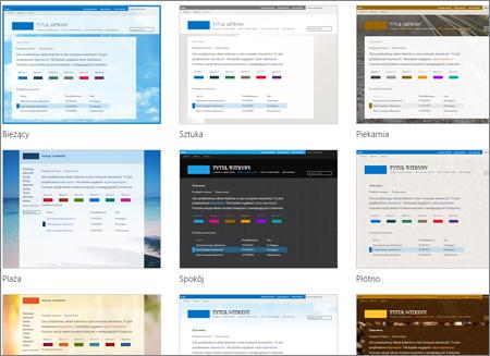 Strona usługi SharePoint Online z obrazami szablonów witryn