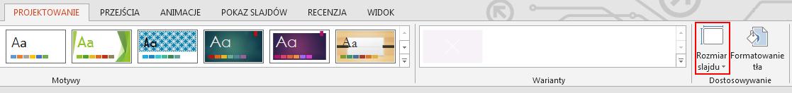 Na karcie Projektowanie w grupie Dostosowywanie kliknij pozycję Rozmiar slajdu.