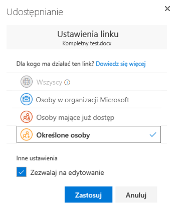Aby określić uprawnienia do link do udostępniania za pomocą okna dialogowego Ustawienia łącza